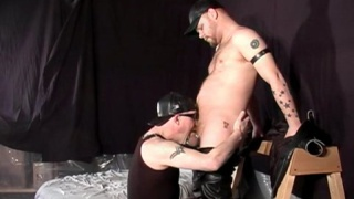 Leather kinky hairy men