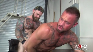 heavily inked daddy fucks hairy muscle hunk's ass