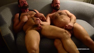 hairy daddies worship their muscles after a workout
