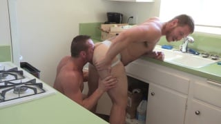 hunk in jockstrap gets rimmed and fucked in kitchen