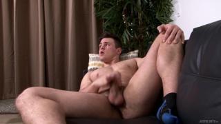 beefy hunk beats off while wearing socks