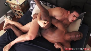 korean-american guy fucks a black stud's ass