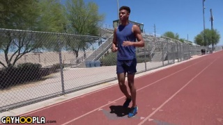 sexy young athletic man in his first JO video
