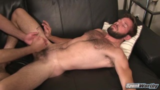 hairy straight guy barry jerks his cock
