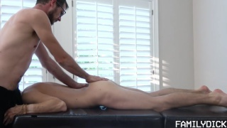 pervy uncle fucks his step-nephew during massage