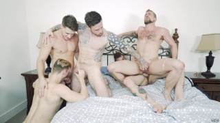 three guys discover two others having sex