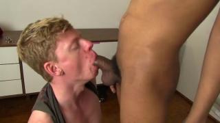 white cocksucker chokes down black buddy's cock