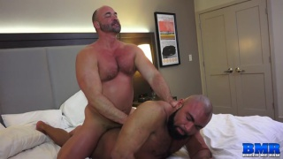 bald bearded daddy gets bare fucked doggy style