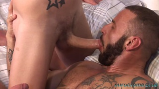 bearded spanish daddy fucks blond british lad