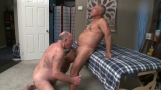 older man gets sucked off by his masseur