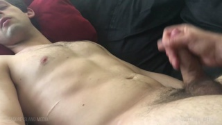 sleeping dude gets his fat uncut cock stroked