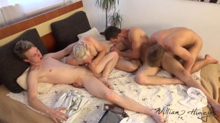 4 european guys sucking dick on a bed