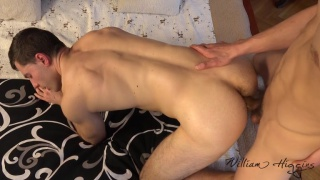 guy presses his big cock against this tight pucker and slides in