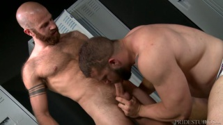 bald stud fucks beefy muscle ass against the lockers