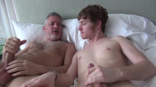 curly-haired lad loves this daddy's big dick