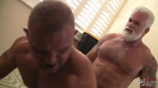 silver daddy flip-fucks with muscle bear