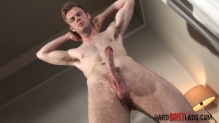 Well-built Bi Lad Ty Bamborugh strokes his uncut cock