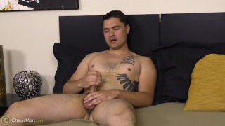 tall beefy guy jacks off in his first porn video