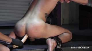 slave gets his master's long dildo