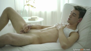 20-year-old student strokes his hard dick