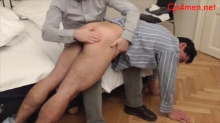 young man gets hauled out of bed for a spanking