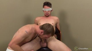 blindfolded guy gets his 9 inches sucked