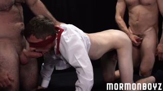 two daddies share a mormon lad's mouth and ass