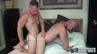 hung stud fucks bald muscle man with his fat cock