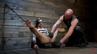 bald master trains and torments a jock slaveboy