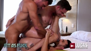 two hunks own a third's ass in dominant threeway