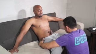 mixed dude gets first blowjob from a guy