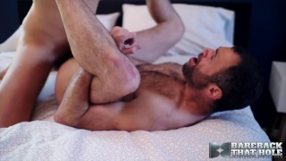 bespectacled blond guy fucks hairy muscle hunk's ass