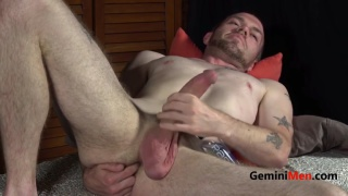 scruffy straight dude strokes his large cock