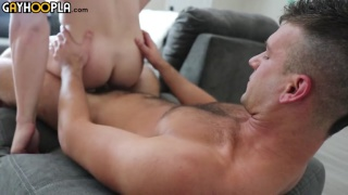 hunk watches bottom riding his hard dick