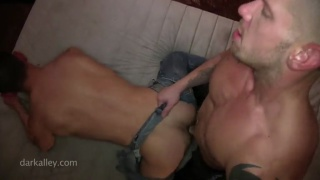 leather stud rips open bottom's jeans and fucks him
