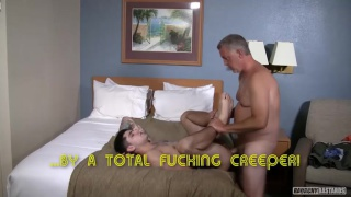 heavily inked guy gets fucked doggy style by dirty old man