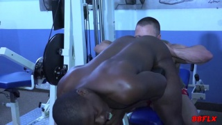 muscle hunk pumps a beefy black man's ass in the gym