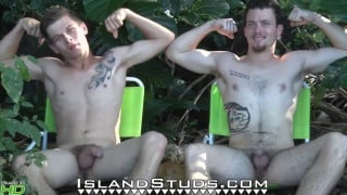 two straight guys play naked frisbee