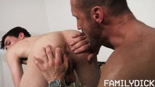stepfather helps stepson & fucks him on the garage floor