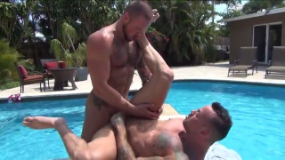 Michael Roman & Sean Duran fuck each other poolside
