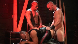 filthy leather man bang his bottom over a fuck bench
