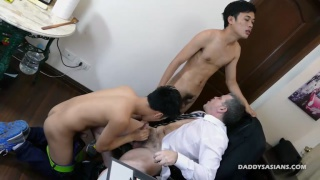 asian boy blows his boss for a raise and then ...