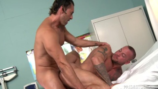 two male nurses take a fuck break in the exam room
