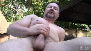 sexy daddy jerks off by the pool
