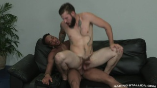 bearded hung guy rides black dude's big dick