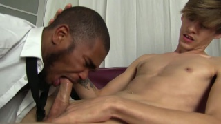 bearded black guy blows a blond stud
