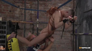 bound guy gets ass splattered with hot wax