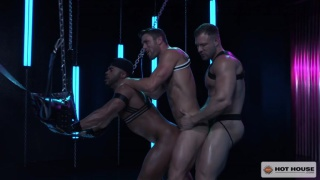 two guys join a third lying in a leather sling