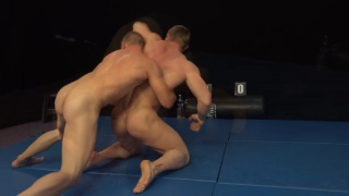 two str8 guys in submission wrestling match