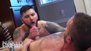 tattooed guy gives his ass up for the rent money